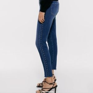 ZARA Jeans with Studded Side Bands Size 10 New
